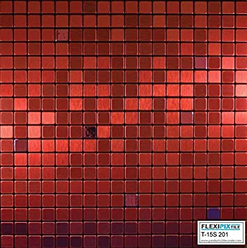 Flexipixtile Modern Aluminum Mosaic Tile Peel Stick Backsplash Accent Wall