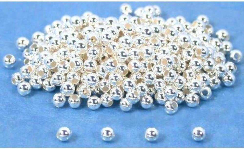 300 Round Ball Beads Sterling Silver Beading Parts 2mm