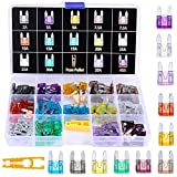 Winlyn 140pcs Assorted Auto Car Truck Mini Blade Fuse Assortment 2 3 5 7.5 10 15 20 25 30 35 40AMP Car Boat Truck SUV Automotive Replacement Fuses - Low Profile Mini Small ATM/APM Blade Fuses