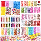 Arts & Crafts : Slime Supplies Kit, 72 Pack Slime Stuff Charms Include Floam Balls, Glitter, Cake Flower Fruit Slices, Fishbowl Beads, Shell, Slime Accessories for DIY Slime Making, Slime Party Decoration