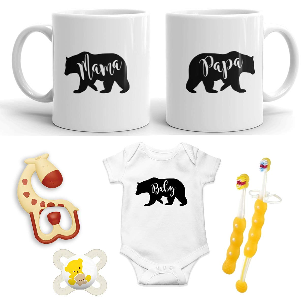 Mama Bear New Mommy and Daddy 11 oz Mug Set withBaby Bear Baby Romper 0-3 Months Baby Bear Pregnancy Gift Top Mom and Dad Gift Set for New and Expecting Parents to Be Papa Bear