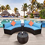HM HOME 6-Piece Patio Furniture Sets, Outdoor Half-Moon Sectional Furniture Wicker Sofa Set with Two Pillows and Coffee Table, Blue Cushions