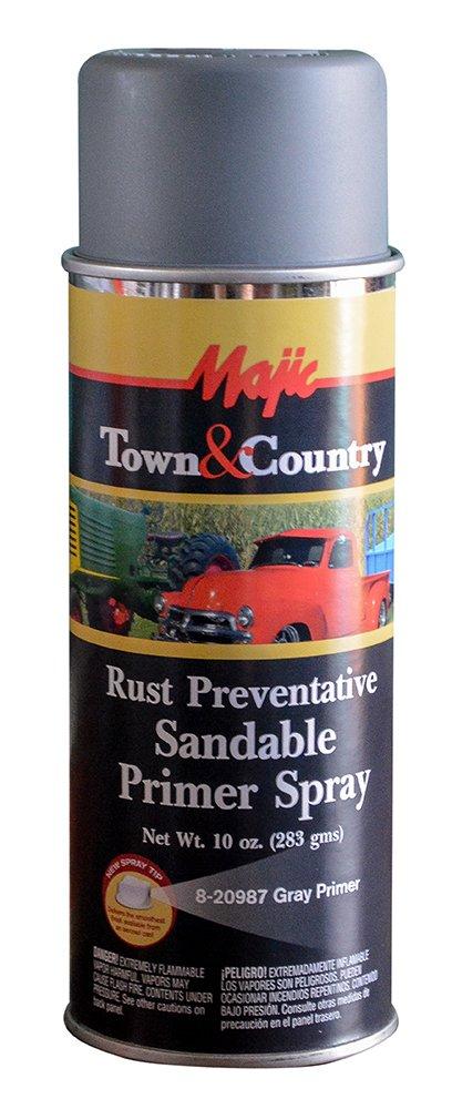 Majic Paints 8-20987-8 Town & Country Rust Preventative Sandable Primer, Aerosol, Gray