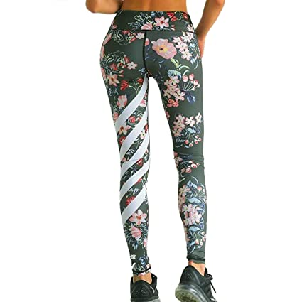 Amazon.com: Womens Floral Printed Yoga Leggings Exercise ...
