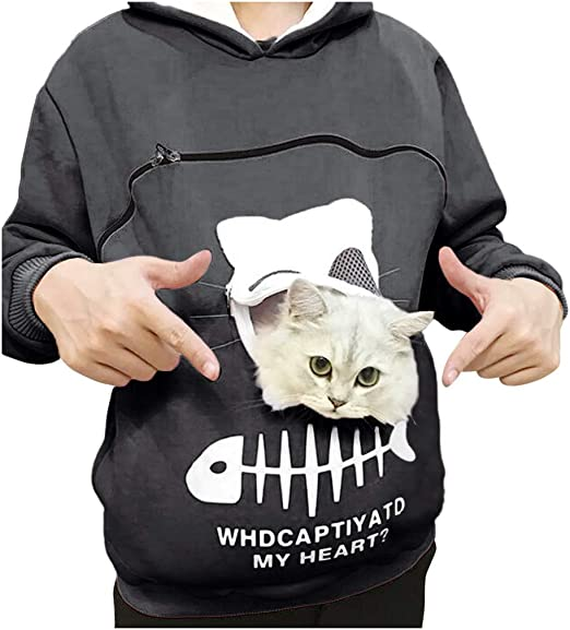 EDC Mens Womens Animal Pouch Hood Tops Sweatshirt Cat Dog Pet Pouch Hoodies Drawstring Ear Hoodie Plus Size .S-5XL