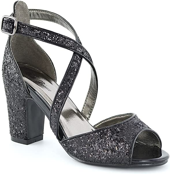 cce22e5ef98 Womens Strappy Sandals Block Low Mid Heel Sparkly Glitter Ladies Bridal  Party Dressy Shoes. ESSEX GLAM ...