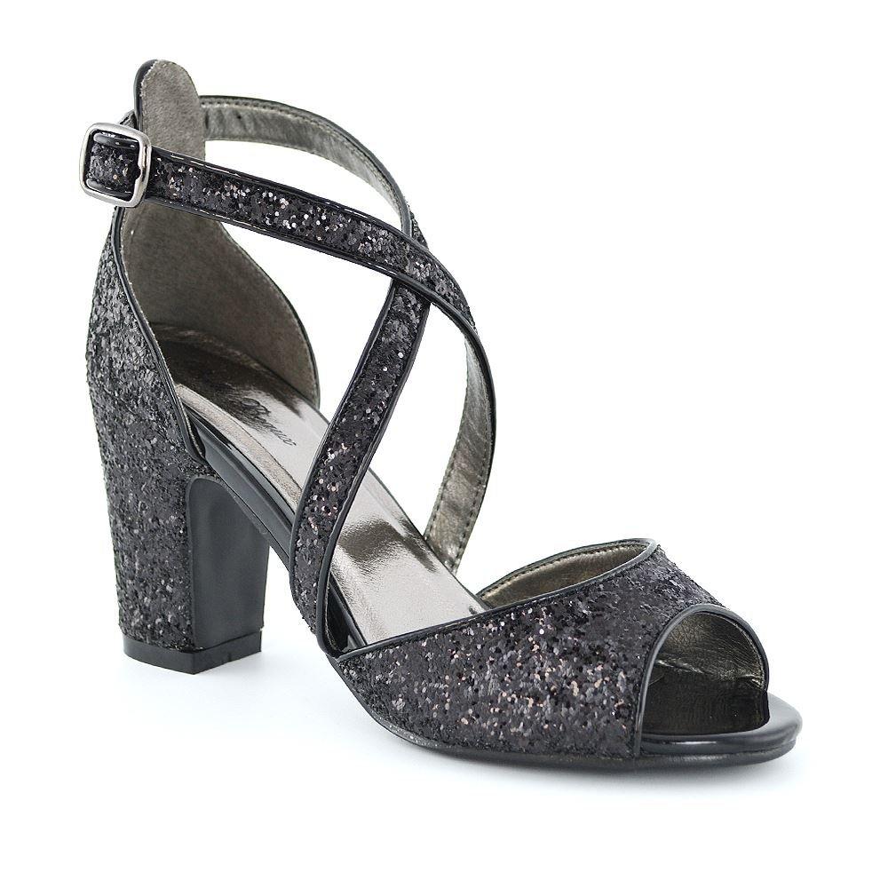 ESSEX GLAM Donna Cinghietti Heel di Blocco Luccichio Nuziale Luccichio Scarpa  Nero Luccichio Nuziale 5222e8