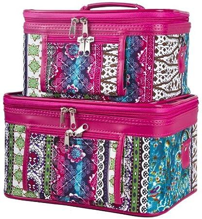 Amazon.com: World Traveler Rosa Boho Patchwork cosmético ...