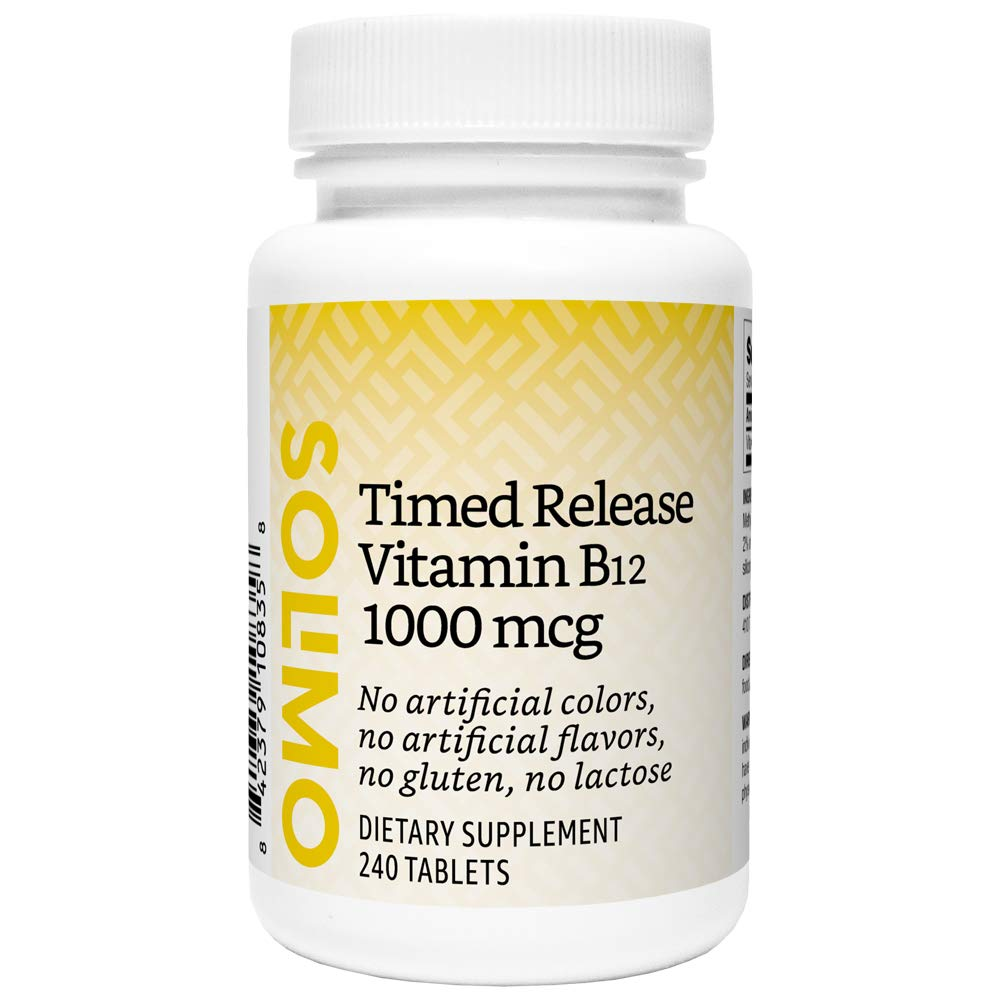 Amazon Brand - Solimo Timed Release Vitamin B12 1000 mcg - Normal Energy Production and Metabolism, Immune System Support - 8 Month Supply (240 Tablets)