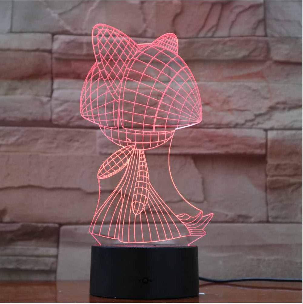 Zlxzlx 7 Colores Cambiantes 3D Lámpara De Escritorio Personajes De Dibujos Animados Forma Led Niños Luz De Noche Dormitorio Accesorios De Iluminación Niño ...