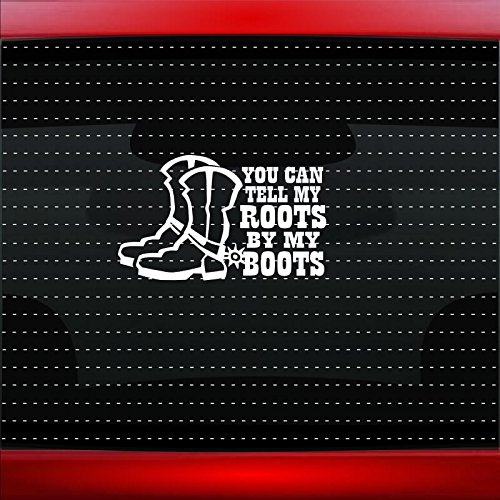(Noizy Graphics You Can Tell My Roots By My Boots Cowboy Up Cowgirl Family Funny Cute Car Sticker Truck Window Vinyl Decal Color HOT PINK)