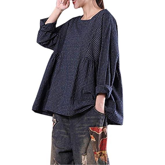 Ropa para Mujer Remiendo De Manga Larga A Cuadros De Las Mujeres Blusa Negra Informal Camiseta