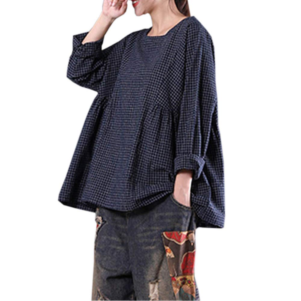 Clearance Womens Clothing - WEUIE Womens Tee Round Neck T-shirt Plaid Pullover Retro Loose Tops Blouse(L, Navy)