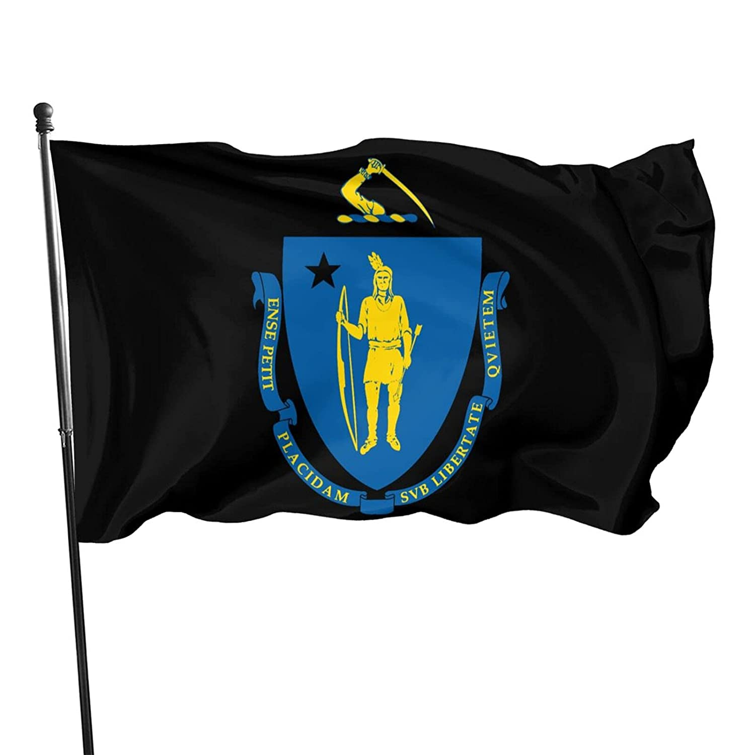 Flag Of Massachusetts Logo Garden Flag Outdoor House Porch Welcome Holiday Decoration Outdoor Flag Suitable For Christmas/Birthday/Happy New Year 3x5 Ft Flag Banner