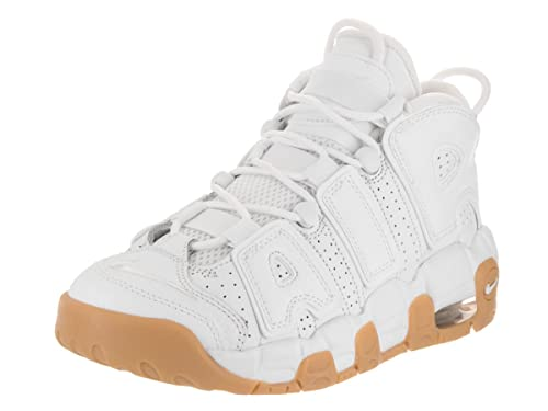 Amazon.com | NIKE Kids Air More Uptempo (GS) White/White/BMB/GM Lght BRWN Basketball Shoe 5.5 Kids US | Basketball