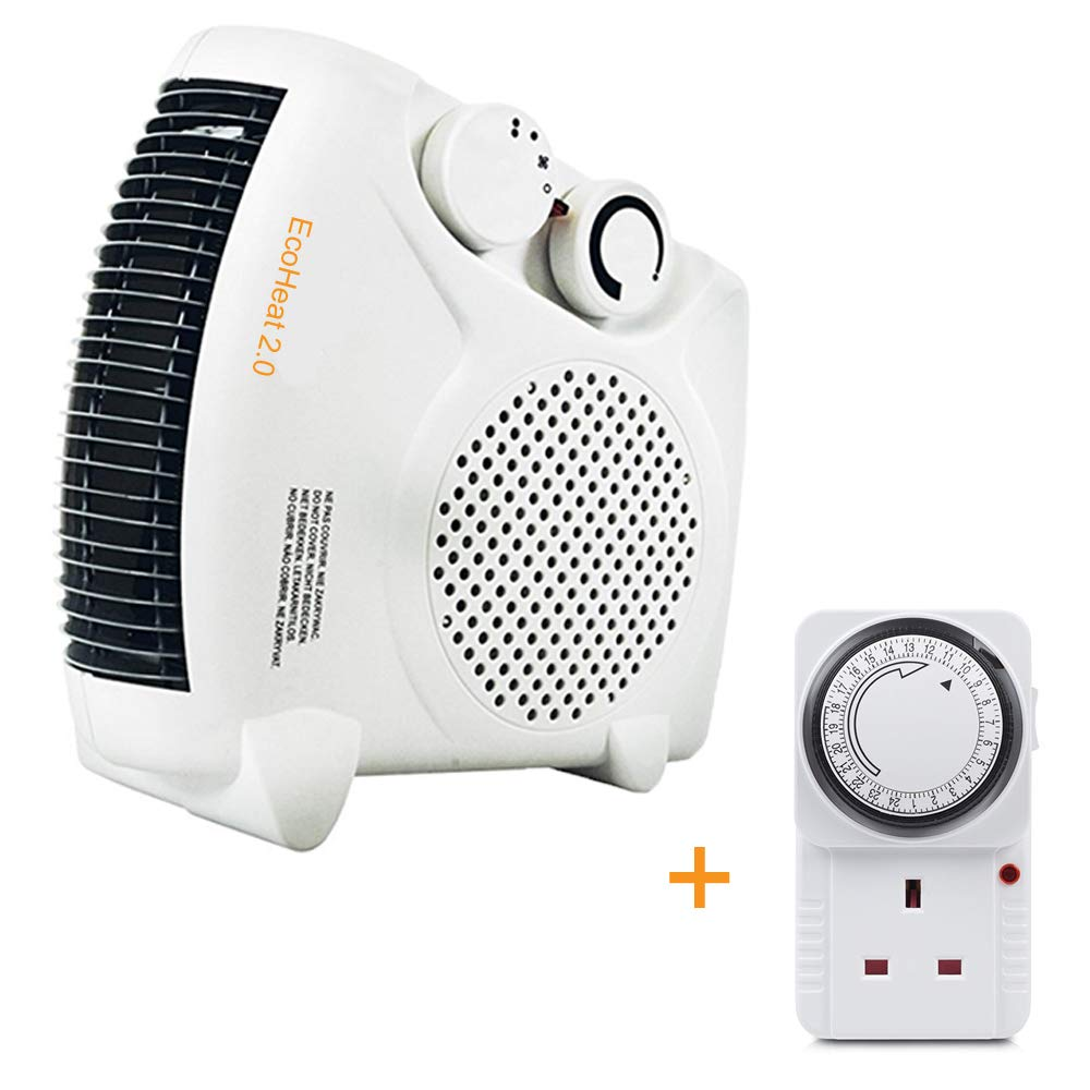EcoHeat 2000W Upright/Flatbed Fan Heater (BEAB) with 24 HOUR PLUG IN TIMER. Two Heat Settings and Cool Blow, White