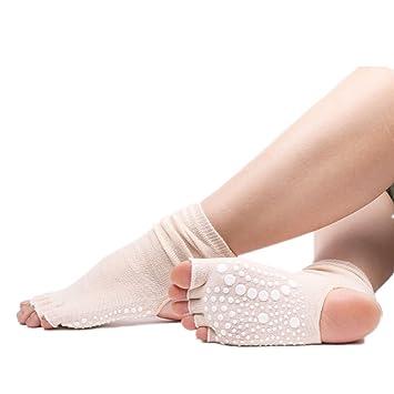 Aszhdfihas Calcetines de Yoga Calcetines de Goma Antideslizantes para Dedos Calcetines de algodón Abiertos (Color : Blanco): Amazon.es: Deportes y aire ...