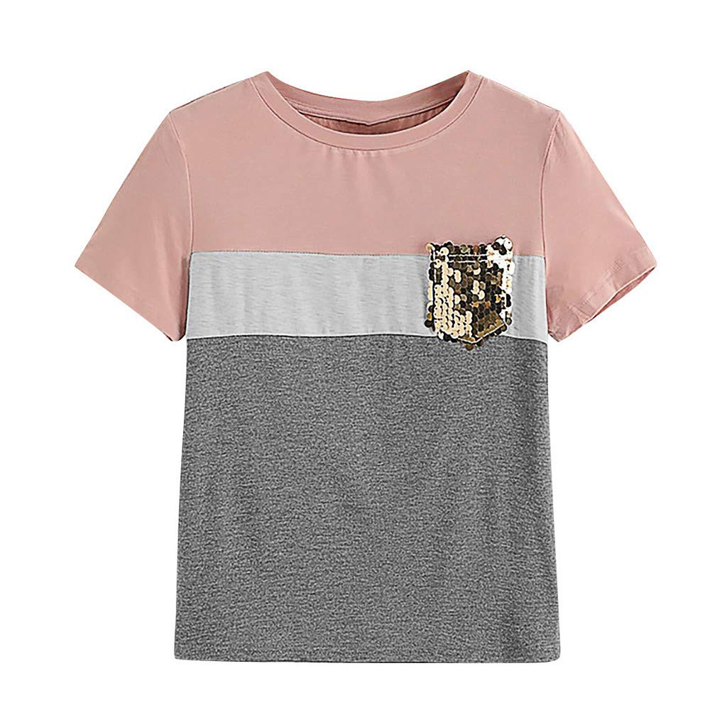 Fashion Women's Tops Color Block Sequin Pocket O-Neck Casual Short Sleeve T-Shirt (S, Pink)