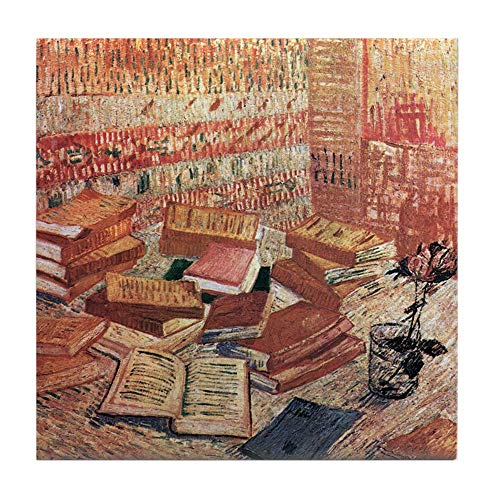 CafePress Van Gogh French Novels and Rose Tile Coaster, Drink Coaster, Small Trivet ()