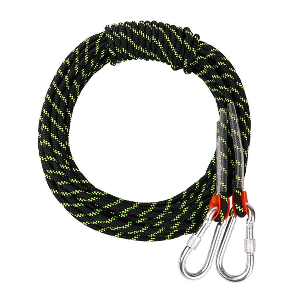 クライミングロープ、10.5mm屋外山登りパワーレスキュー機器、防水ノンスリップナイロン耐磨耗安全ロープ、30m (色 : 黒, サイズ さいず : 30m) 30m 黒 B07NYZJBXM