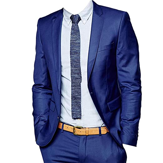 4ee70896d952 HBDesign Mens 2 Piece 2 Button Casual Slim Fit Fashion Suits 34R Royal Blue