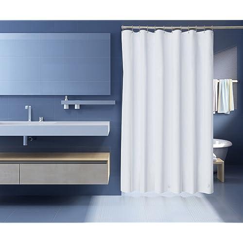 ZenFresh Anti Mildew Antibacterial Heavy Duty 10 Gauge Shower Curtain Liner 3 Magnets White