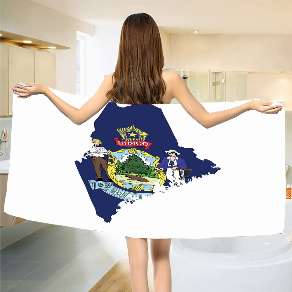 Luoiaax Maine Quick Dry Bath Towels Wrap Pine Tree State Map and Flag Moose Farmer and Seaman Star Diringo Soft Face Towels for Bathroom W13.5 x L27.5 Inch Cobalt Blue and Multicolor