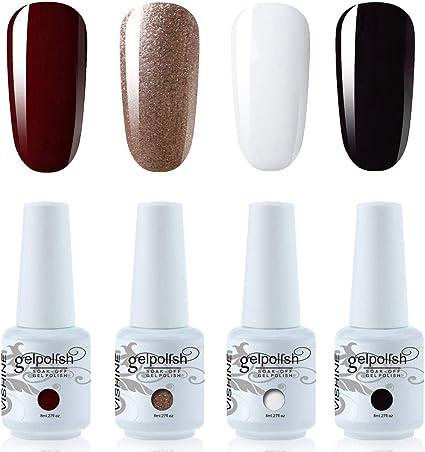 Vishine Lot de 4 Vernis à Ongles Gel Semi Permanent Blanc Noir Rouge foncé  et Rose Or Soak Off UV LED Gel Nail Polish Nail Art Kit classique