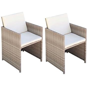 Xinglieu Esszimmerstühle 2 Stk Rattanstühle Beige 525685 Cm