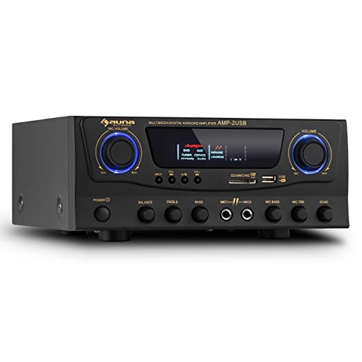 8 opinioni per auna Amp-2 amplificatore Hi Fi (100 Watt a 4 Ohm, ingressi RCA, USB, SD)- nero