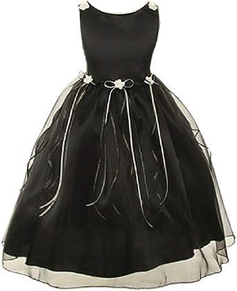 4a9265526b Rosebud Flower Bow Ribbons Little Girl Flower Girls Dresses (14KD9) Black 2