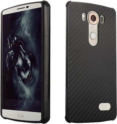 LG V10 Funda,Grandcaser Aluminio Bumper + Carbono Fibra Acrílico ...