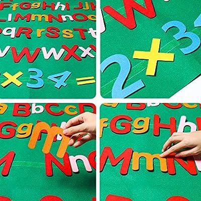 WATINC 122Pcs Alphabet Felt Flannel Board Kit for Kids Reusable Velcro Upper Lower Case Letter Numbers Math Symbols Giant Wall Hanging Preschool Educational Toy Christmas Birthday Gift for Boys Girls: Toys & Games