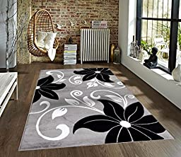 T1014 Gray Black White 5\'2 x 7\'2 Floral Oriental Area Rug Carpet