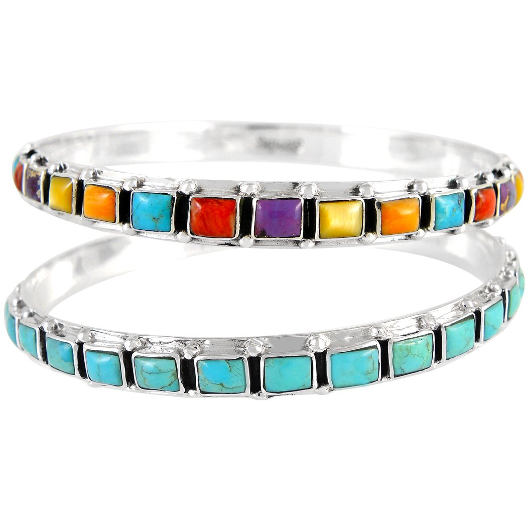TWO Stackable 925 Sterling Silver Bangle Bracelets Genuine Turquoise & Gemstones (2 pcs)