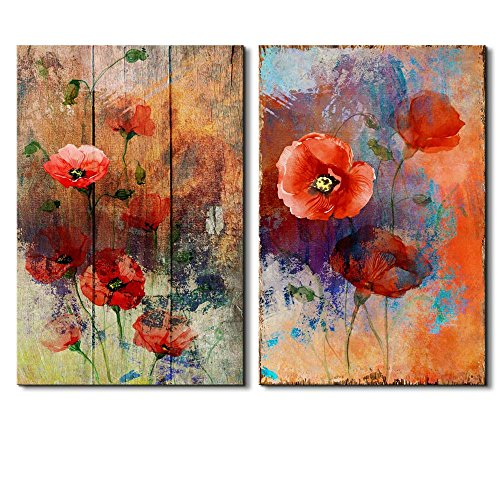 Vibrantly Colored Petunia on a Vintage Wood Background and Abstract Painted Background