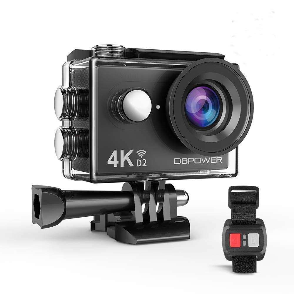 DBPOWER 4K Action Camera 12MP Ultra HD Waterproof Sports Cam with Built-in WiFi 170 Degree Wide Angle Lens 2 Inch LCD Screen Plus 1050mAh Rechargeable Battery by DBPOWER
