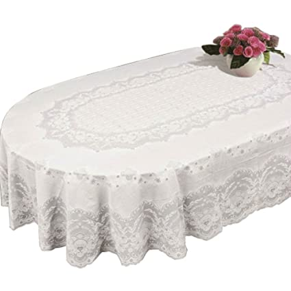 Table Cloth Cover Home Tablecloth Oval Rectangle Plastic Lace Pattern White