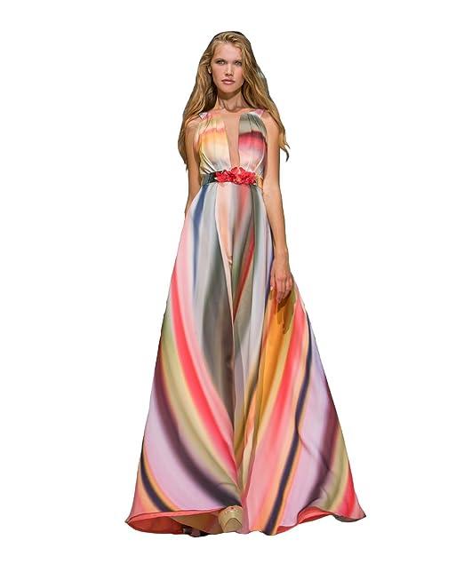 716472d2093f SONIA PEÑA Abito Lungo in Mikado Multicolore MOD.11180234  Amazon.it   Abbigliamento