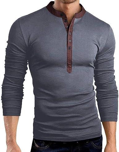 Crystallly Camiseta De Henley Larga Cuello Manga De con Abuelo para Estilo Simple Hombres Camisa Básica De Corte Slim Fit Blusa Casual De Manga Larga Otoño: Amazon.es: Ropa y accesorios