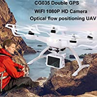 Inverlee Double GPS Brushless Drone CG035 WiFi FPV HD1080P Gimbal Camera Quadcopter (White)