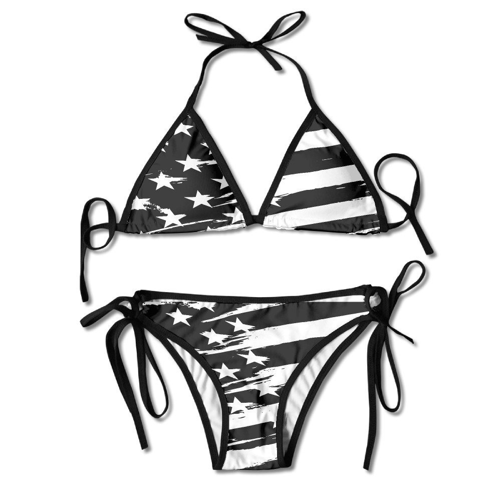 Women's Beach Wear Bikini Sets Black USA Flag Swimsuits
