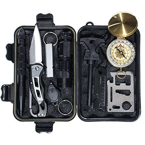 GOLBERG G Emergency Survival Gear Kit - 11-in-1 Survival Tool Kit - Hiking, Adventures, and Camping