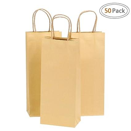 25 Small Brown Kraft Craft Paper Carrier Bags Gift Shops Shopping Reusable XX