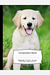 """Dog Composition Notebook, Wide Ruled: Composition Book, Lined Student Writing Journal, Exercise Book, 200 pages, 7.44"""" x 9.69"""" (Dog Series) Paperback"""