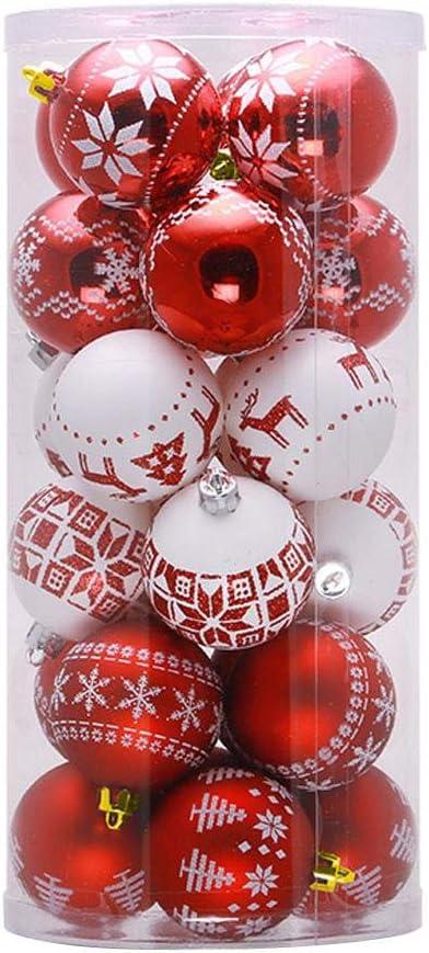 Baril Boules de No/ël Ornements D/écoration de Boules de No/ël Incassables en Plastique Rouge et Blanc Cadeaux de Pendentifs de Sapin de No/ël Lumanuby