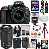 Nikon D5600 Wi-Fi Digital SLR Camera & 18-55mm VR DX AF-P + 70-300mm VR AF-P Lens + 64GB Card + Backpack + Flash + Battery & Charger + Tripod Kit