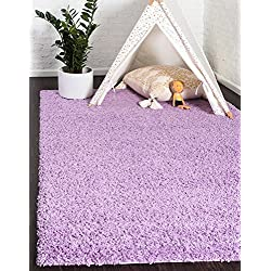 Unique Loom Solo Solid Shag Collection Modern Plush Lilac Rectangle (5' x 8')