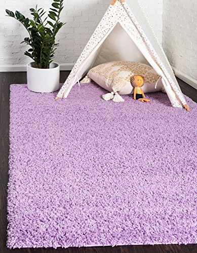 8' Lilac Area Rug - Unique Loom Solo Solid Shag Collection Modern Plush Lilac Rectangle (5' x 8')