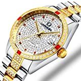 Gosasa Mens Automatic Full Diamond Dial Watch Gold Tone Stainless Steel Waterproof Wristwatches